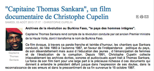 """Capitaine Thomas Sankara"", un film documentaire de Christophe Cupelin lapluma.net, 3 août 2013"