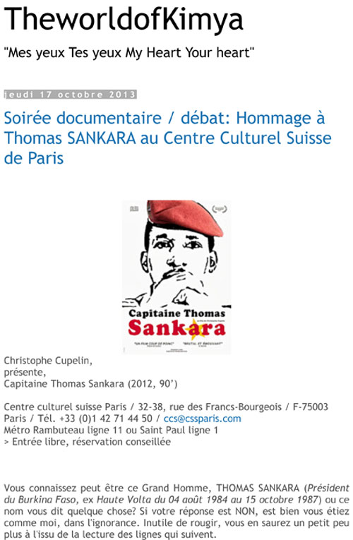 Hommage à Thomas Sankara au Centre Culturel Suisse de Paris The World of Kimya, 17 octobre 2013