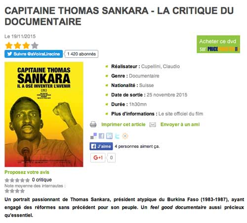 Capitaine Thomas Sankara - La critique du documentaire avoir-alire.com, Nicolas Bonnes, 19 novembre 2015