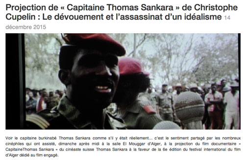 Projection de « Capitaine Thomas Sankara » de Christophe Cupelin :  Le dévouement et l'assassinat d'un idéalisme Festival International du Cinéma Engagé 2015, 14 décembre 2015