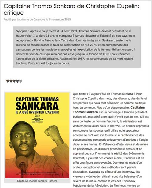 Capitaine Thomas Sankara de Christophe Cupelin: critique cinechronicle.com, Laurianne de Casanove, 6 novembre 2015